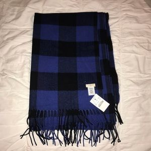 Jcrew Factory Wool Scarf Blue Black NWT